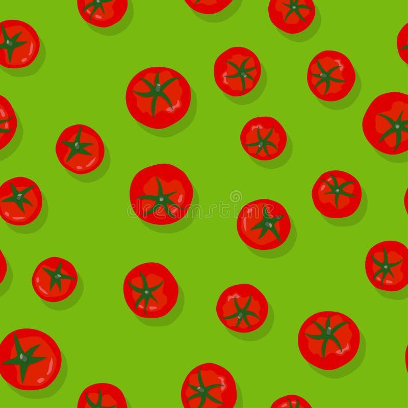 Zielony bezszwowy wzór z pomidorami royalty ilustracja