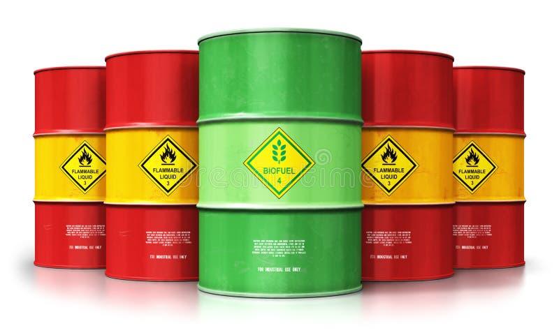 Zielony biopaliwo bęben przed czerwieni nafcianymi lub benzynowymi baryłkami odizolowywał o ilustracji