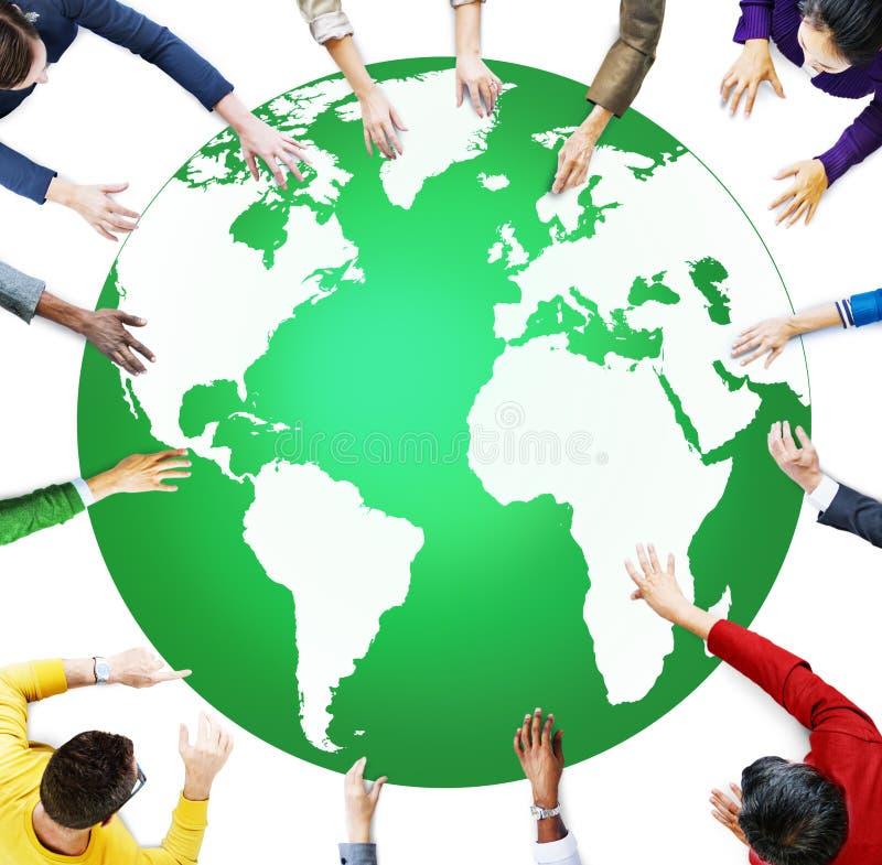 Zielony Biznesowego środowiska konserwaci Globalny pojęcie royalty ilustracja