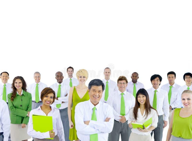Zielony Biznesowy spotkanie na Białym tle zdjęcie stock