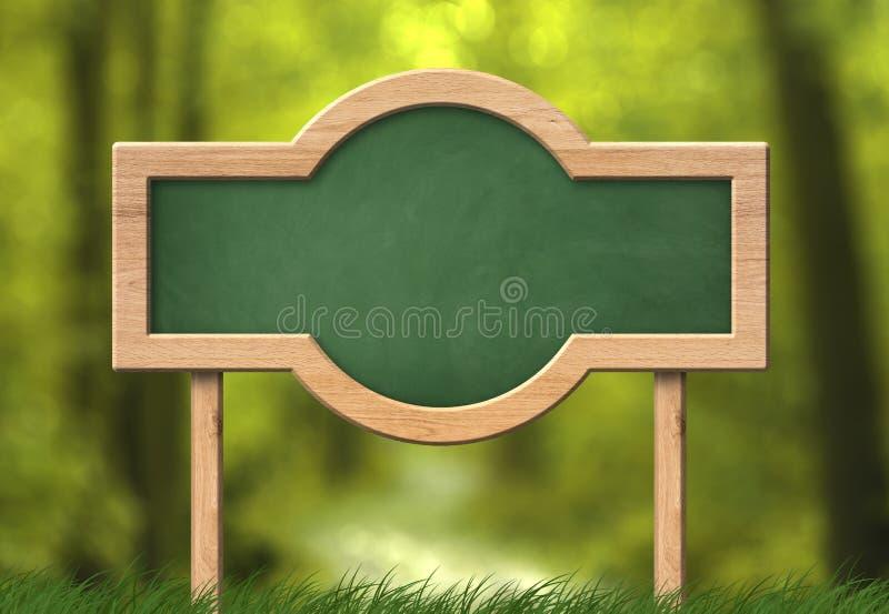 Zielony blackboard z zaokrąglonym kształta i lasu tłem obraz stock