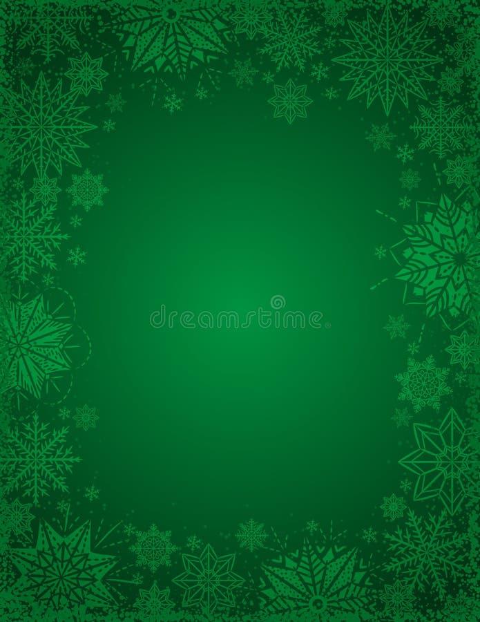 Zielony bożego narodzenia tło z ramą płatek śniegu i gwiazdy, v royalty ilustracja