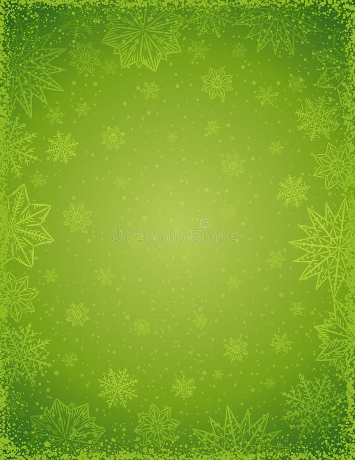 Zielony bożego narodzenia tło z ramą płatki śniegu i gwiazdy, ilustracja wektor