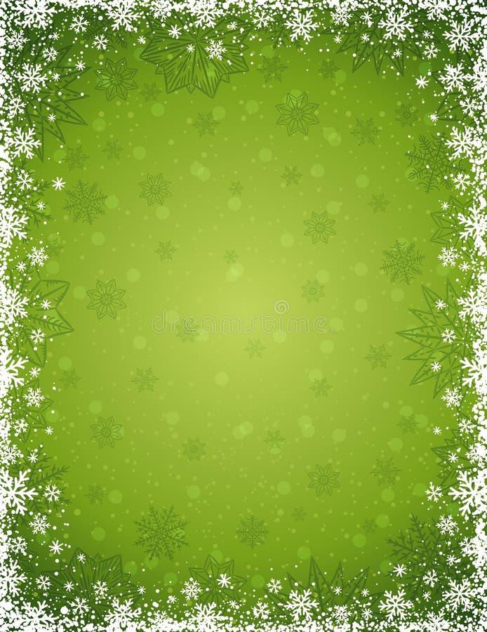 Zielony bożego narodzenia tło z ramą płatki śniegu i gwiazdy, ilustracji