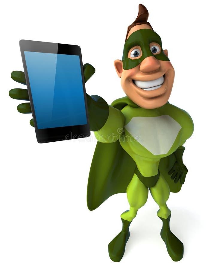 Zielony bohater ilustracji