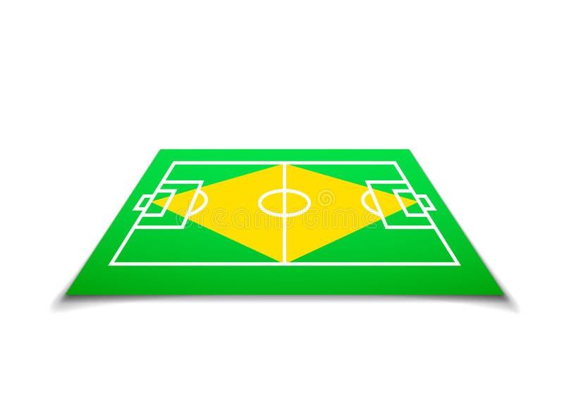 Zielony boisko do piłki nożnej, Brazil flaga royalty ilustracja