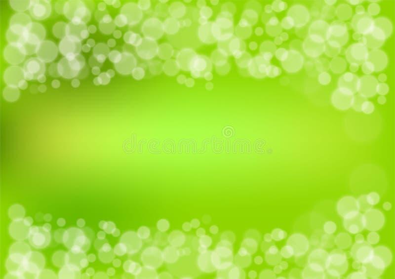 Zielony bokeh tło, Wektorowa ilustracja ilustracja wektor