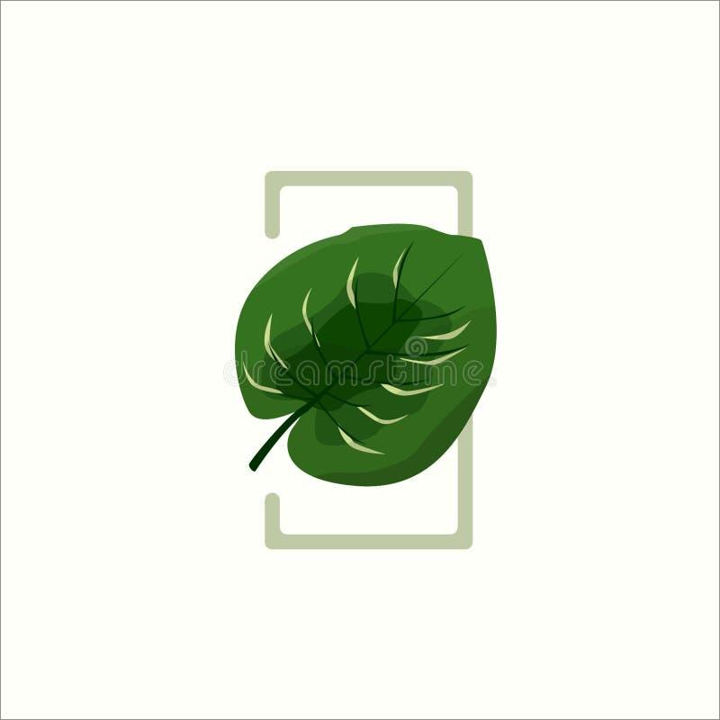 Zielony Botaniczny Keladi liść ilustracja wektor