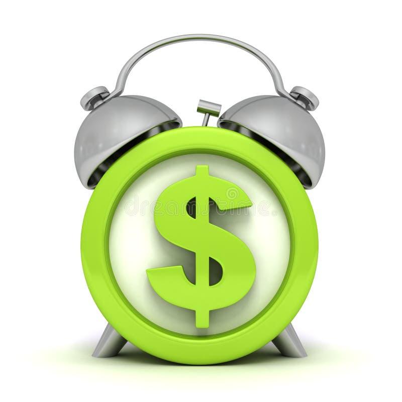 Zielony budzik z dolarowym symbolem na clockface ilustracji