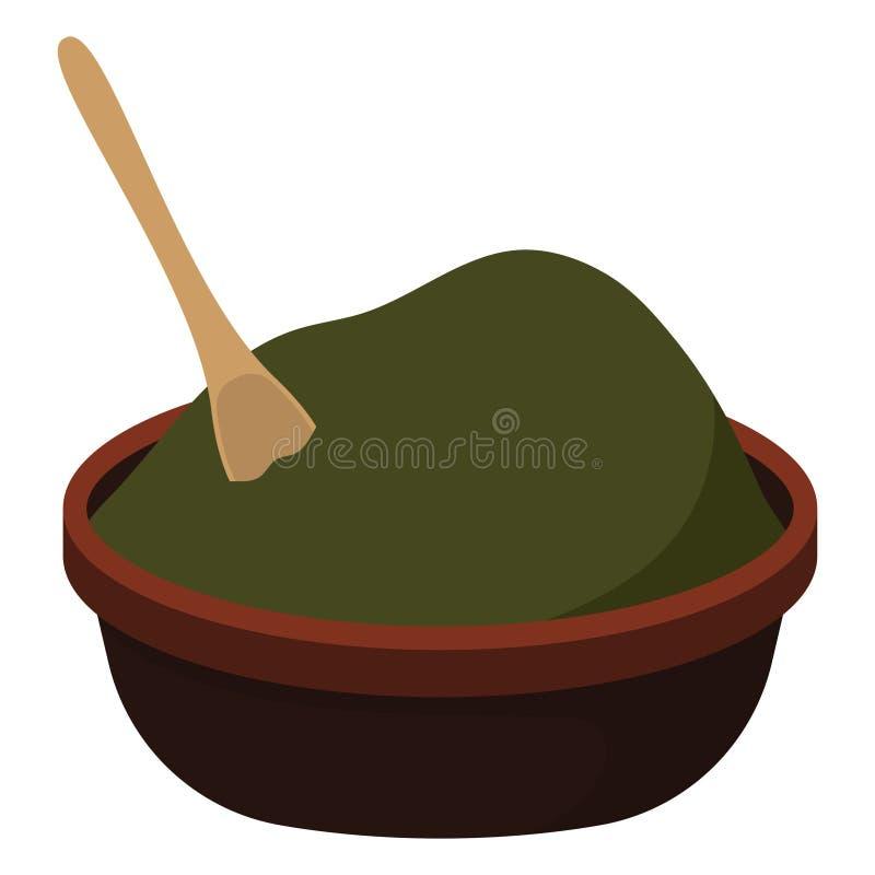 Zielony Chili proszek, łyżka w pucharze i ilustracja wektor