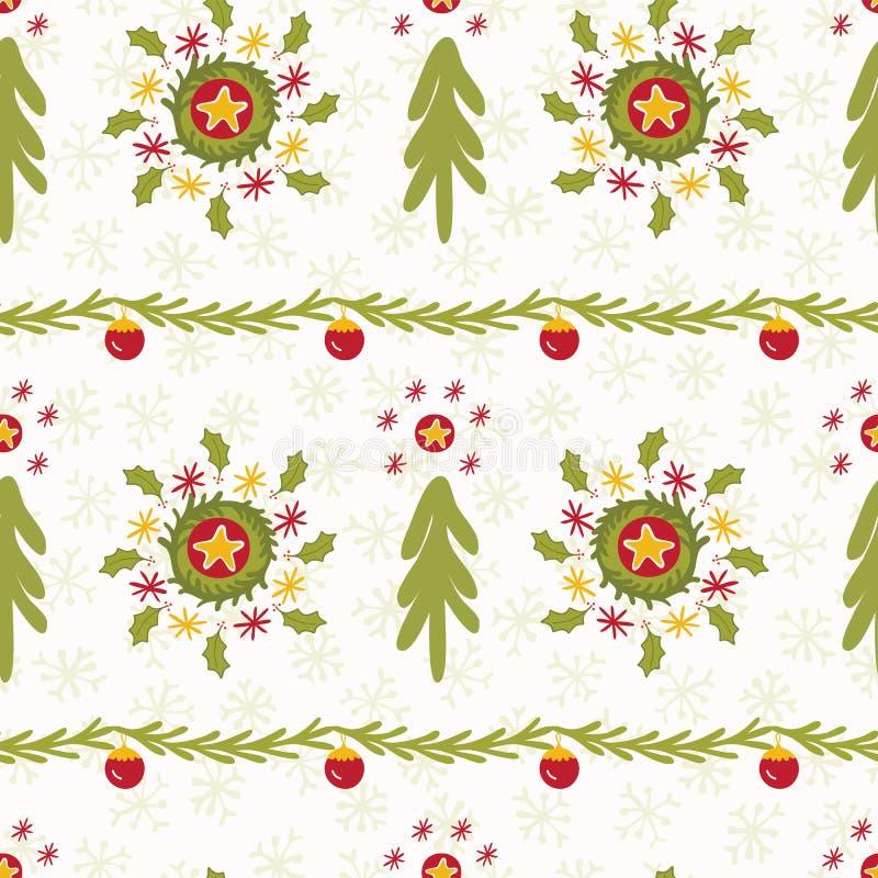 Zielony choinka wianek Paskuje zimę Bezszwową royalty ilustracja