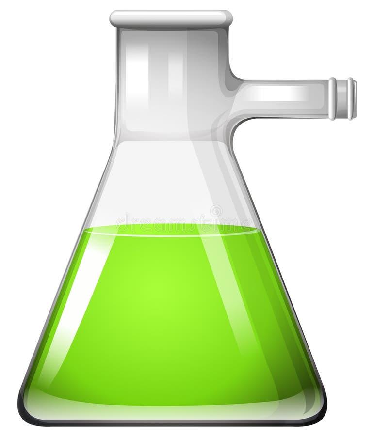 Zielony ciecz w szklanej zlewce ilustracja wektor
