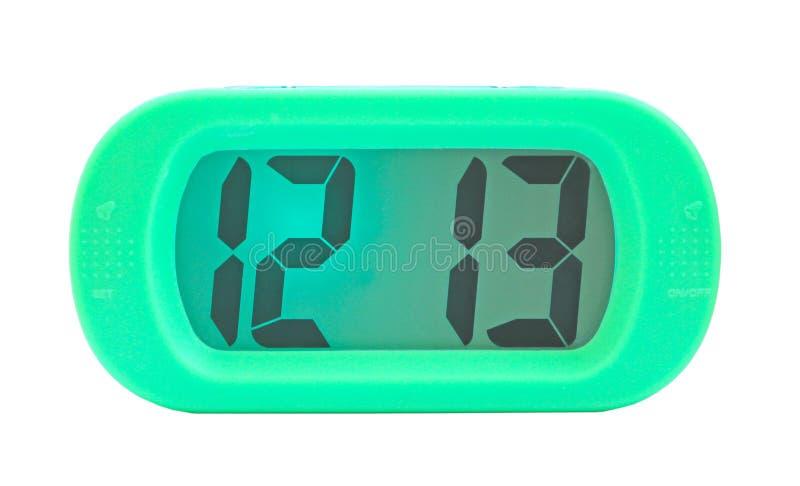 Zielony cyfrowy elektroniczny zegar obrazy stock