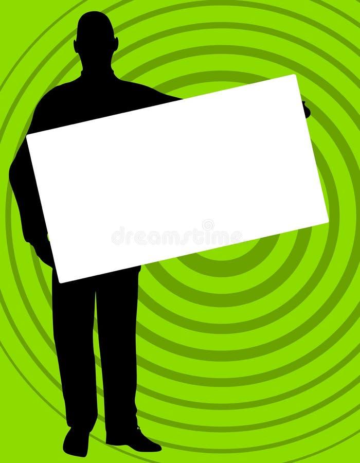 zielony człowiek promieniowy znak gospodarstwa royalty ilustracja