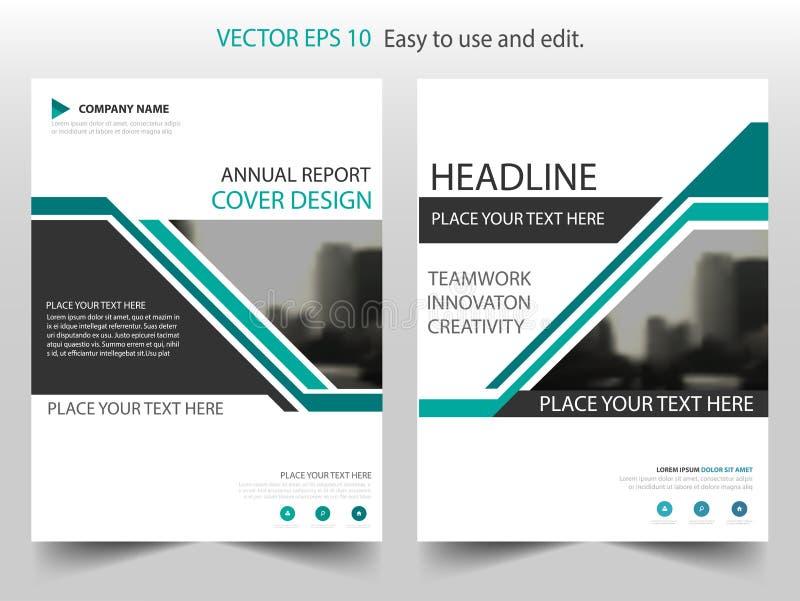 Zielony czarny abstrakcjonistyczny sprawozdanie roczne broszurki projekta szablonu wektor Biznesowych ulotek magazynu infographic ilustracji