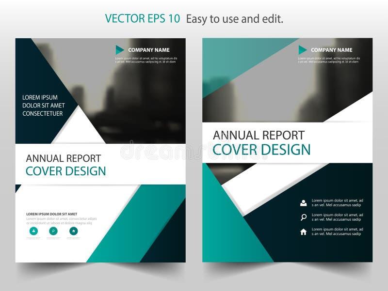 Zielony czarny abstrakcjonistyczny trójboka sprawozdania rocznego broszurki projekta szablonu wektor Biznesowych ulotek magazynu  royalty ilustracja