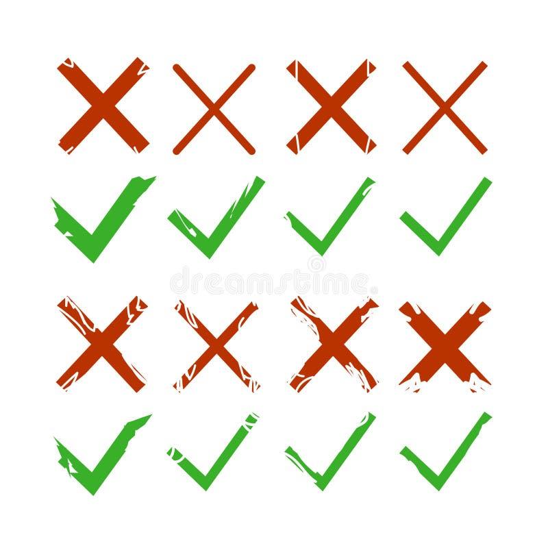 Zielony czek, cwelich i czerwony krzyż, podpisujemy odosobnionego na białym tle Zielonego checkmark OK i czerwone X ikony Symbole royalty ilustracja