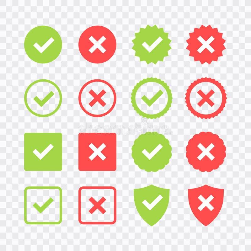 Zielony czek oceny i czerwony krzy? ikony set Okr?g i kwadrat Kleszczowy symbol w zielonym kolorze, wektorowa ilustracja royalty ilustracja