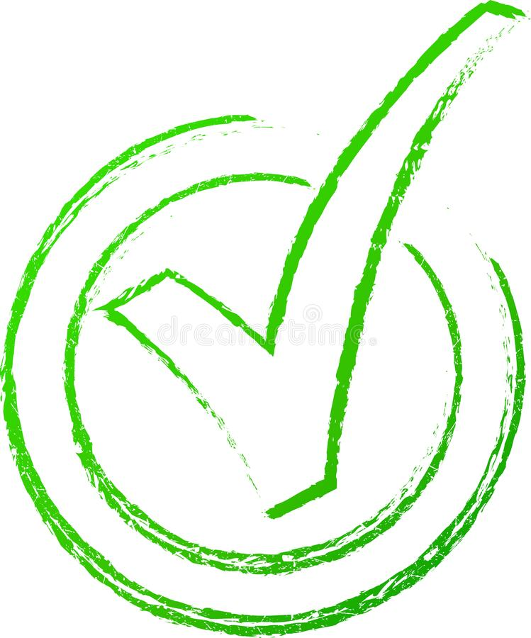 Zielony czek oceny znaczek ilustracja wektor
