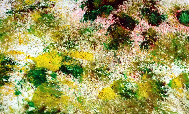 Zielony czerwony zmrok - szarzy żółci kolory, zamazany obraz akwareli tło, abstrakcjonistyczny obraz akwareli tło ilustracja wektor