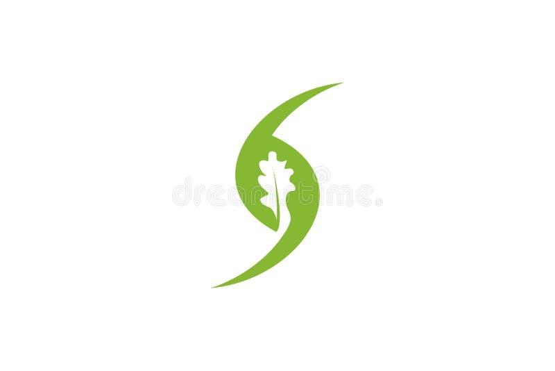 zielony dębowy negatyw przestrzeni logo Projektuje inspirację Odizolowywającą na Białym tle royalty ilustracja