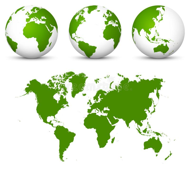 Zielony 3D kuli ziemskiej kolekcja i Undistorted 2D Ziemska mapa w Zielonym kolorze Wektorowy świat - royalty ilustracja