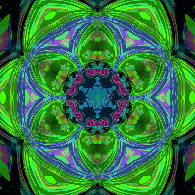 Zielony dachówkowy płatka śniegu fractal tło, wiosna płatek śniegu lub kwiat, ilustracja wektor