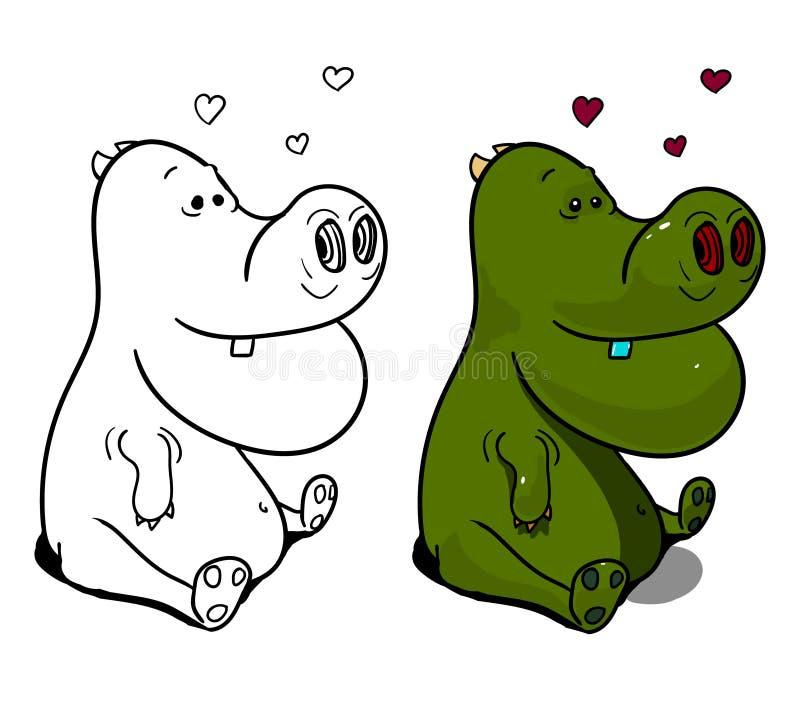 Zielony dinosaur siedzi pod kilka sercami nad głowa royalty ilustracja