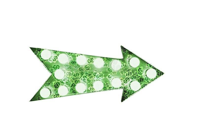 """Zielony dolarowych znaków """"$† malujący nad rocznika jaskrawym i kolorowym iluminującym kruszcowym pokaz zieleni strzała znak royalty ilustracja"""
