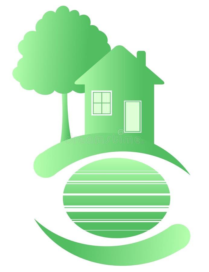zielony dom ilustracji