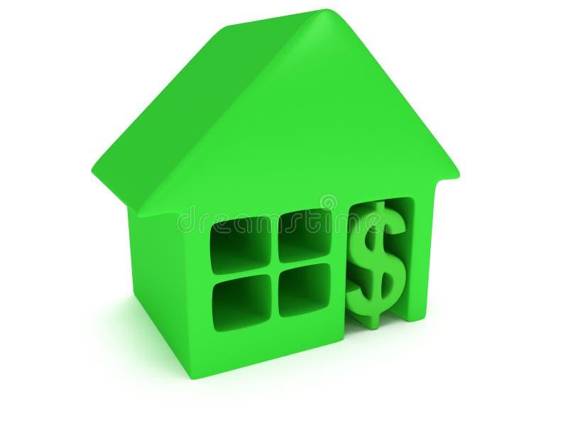 Zielony dom i dolar na bielu. 3d odpłacają się. royalty ilustracja