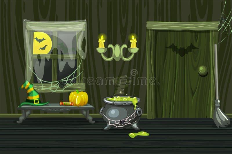 Zielony dom, ilustracyjny wewnętrzny drewniany pokój z Halloween symbolami ilustracji