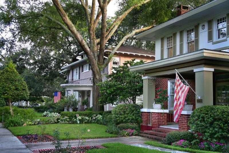 Zielony dom z usa flaga zdjęcia royalty free