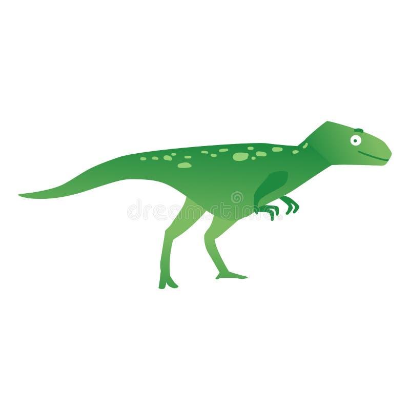 Zielony drapieżczy dinosaur lub Dino, śmieszny prehistoryczny zwierzęcy velociraptor royalty ilustracja
