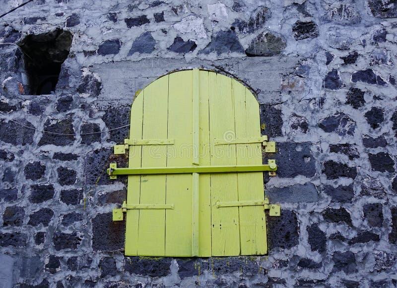 Zielony drewniany drzwi z kamienną ścianą fotografia stock