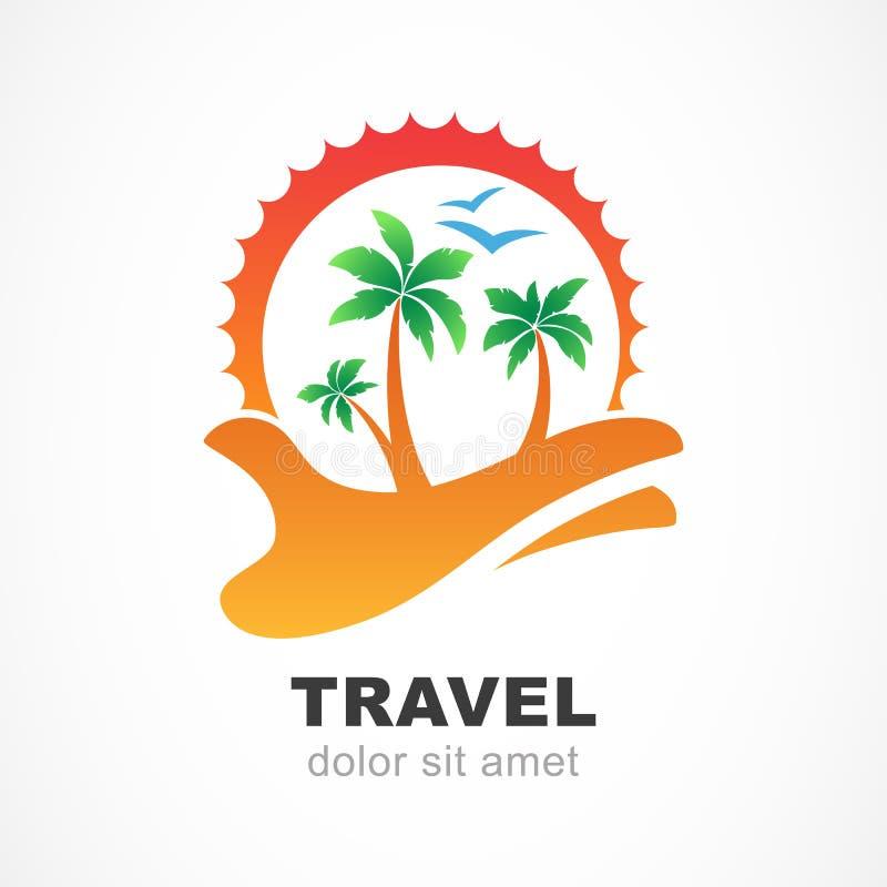 Zielony drzewko palmowe i słońce na ręce Abstrakcjonistyczny projekta pojęcie dla tra ilustracja wektor