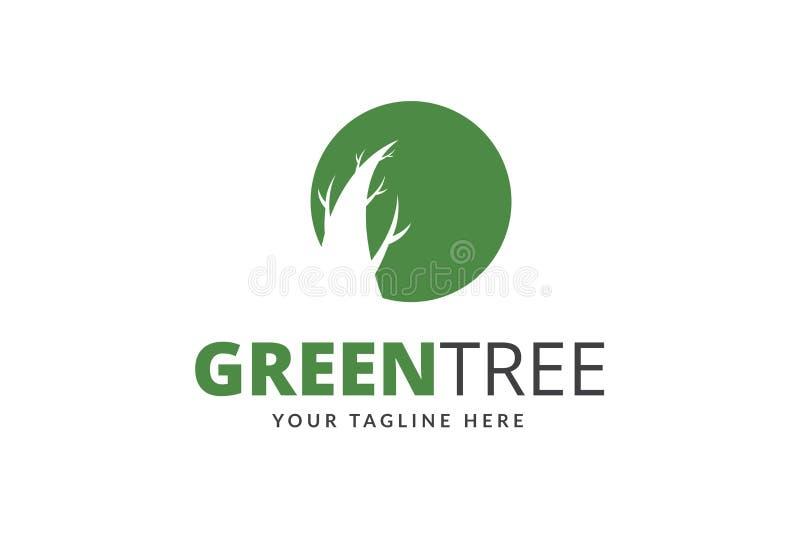 Zielony Drzewny loga projekta szablonu wektor obrazy royalty free