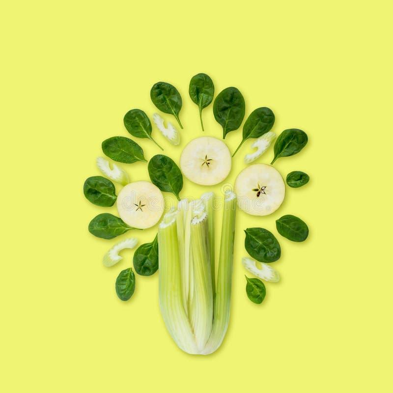 Zielony drzewo składniki dla przygotowań smoothies obrazy royalty free