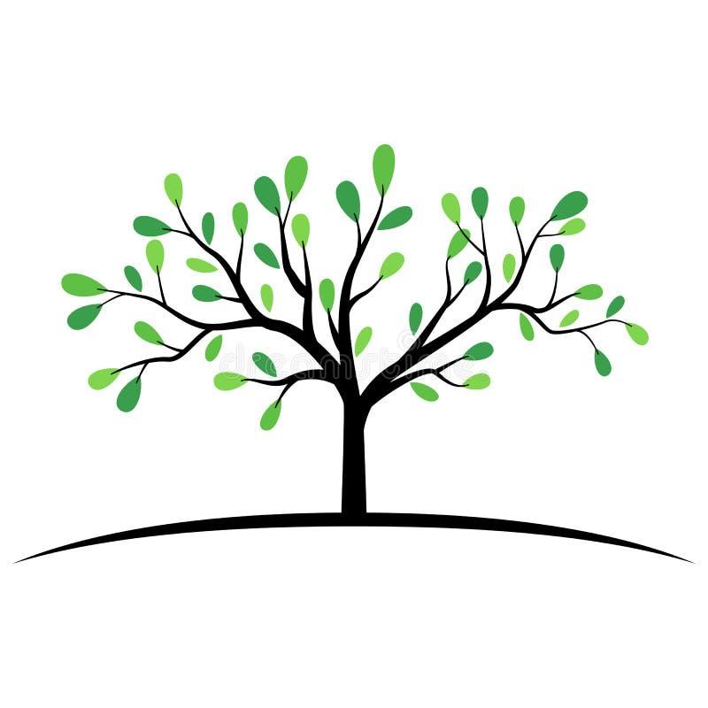 Zielony drzewo z szerokim gałąź symbolem ilustracja wektor