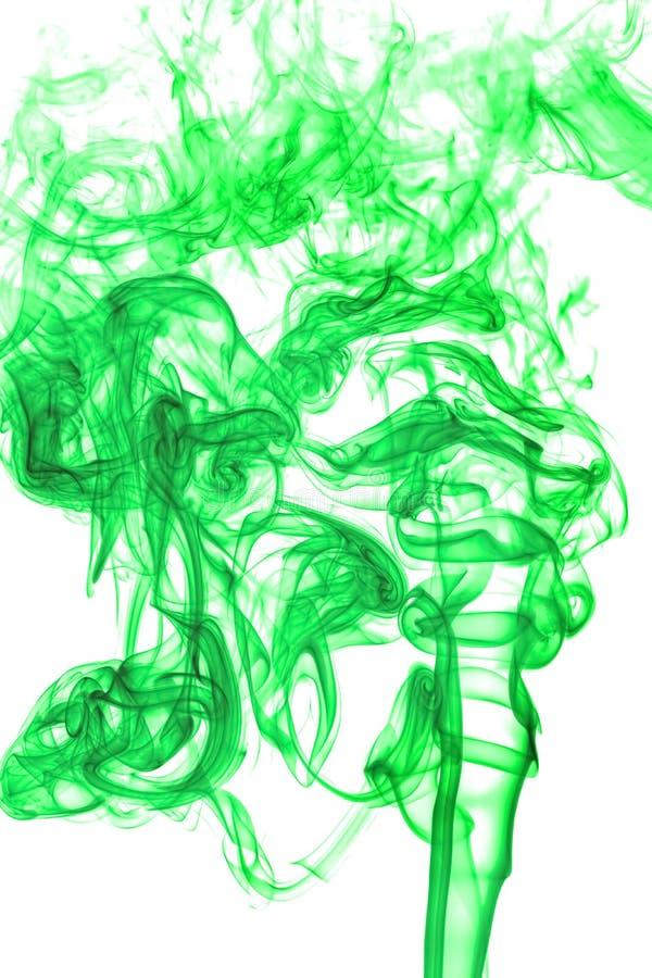 Zielony dym na białym tle, tekstura abstrakt zdjęcia stock
