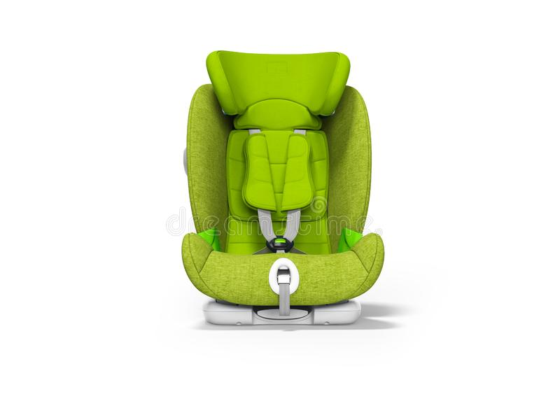 Zielony dziecka siedzenie dla samochodowego frontowego widoku 3d odpłaca się na białym tle z cieniem ilustracji