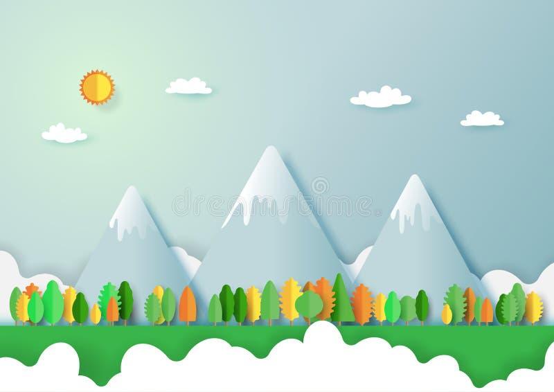 Zielony eco życzliwy i natura lasu krajobraz ilustracja wektor