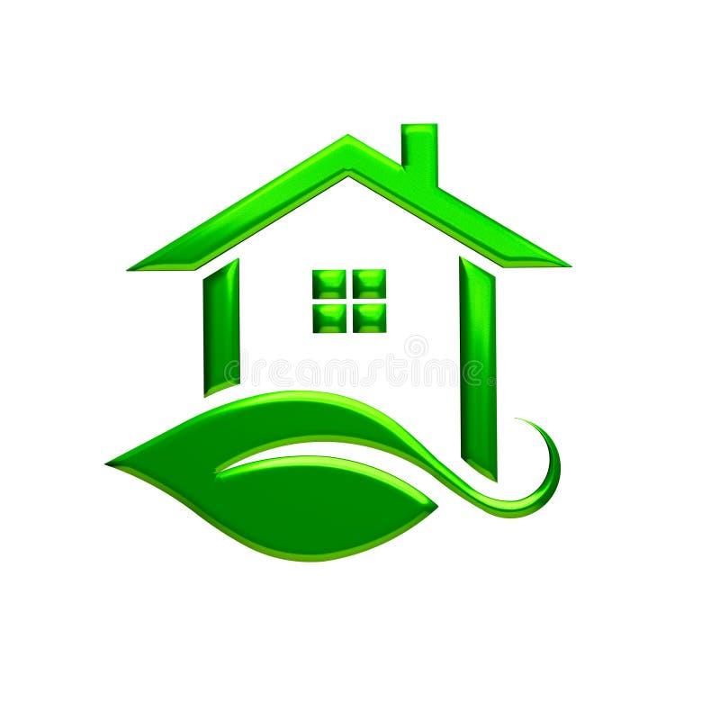 Zielony eco domu logo śliwek 3 d łatwej edycji ilustrację do akt ścieżka świadczenia ilustracji