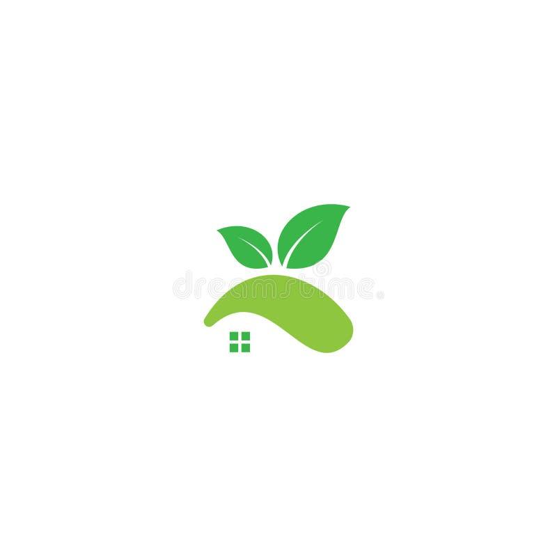 Zielony Eco domu logo Real Estate projektuje wektorowego szablon ilustracji