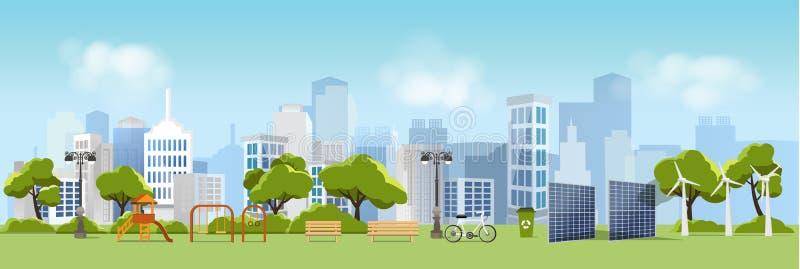 Zielony eco miasto, życie i, relaksujemy ogród, miastowy krajobraz ilustracji