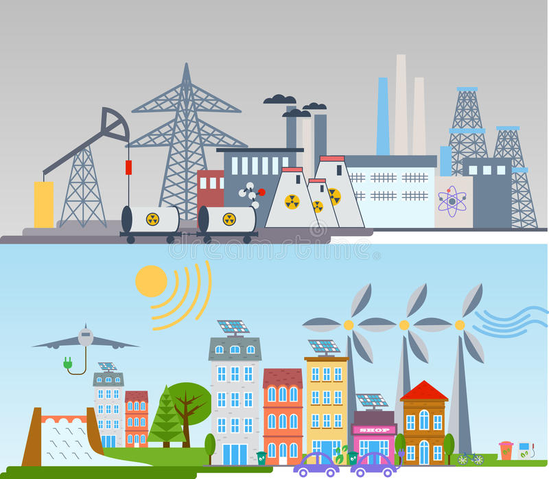Zielony ekologii miasta infographics tło i elementy Ogniwo słoneczne wiatrowa energia ilustracja wektor