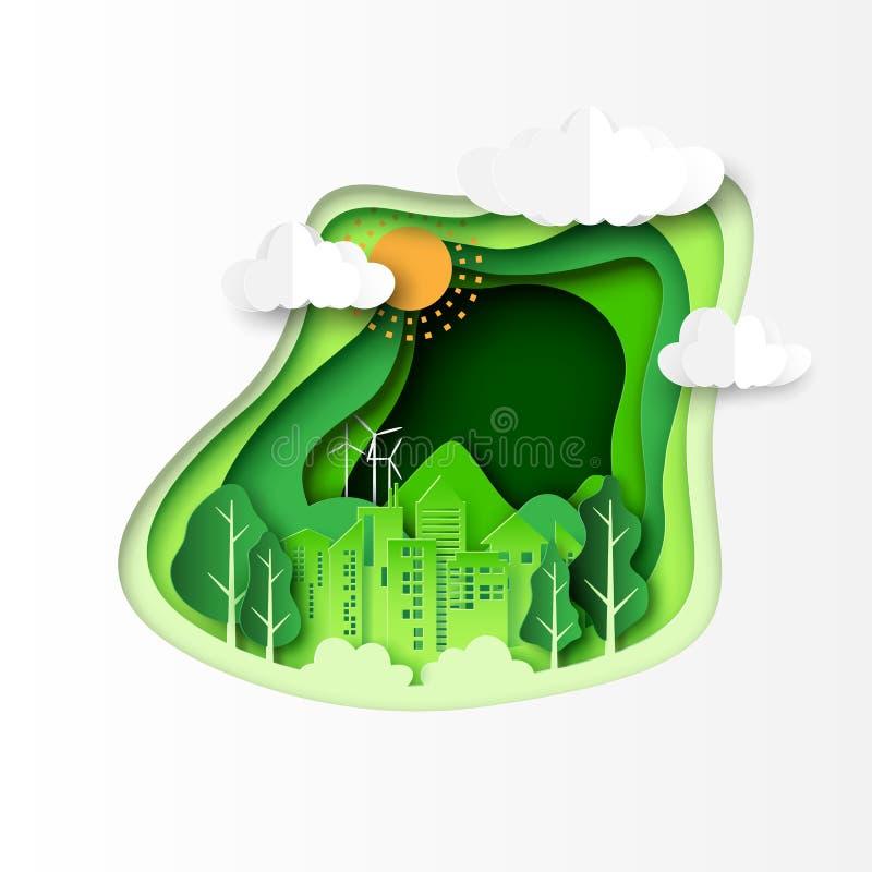 Zielony ekologii pojęcie z abstrakta papieru rżniętym tłem ilustracji