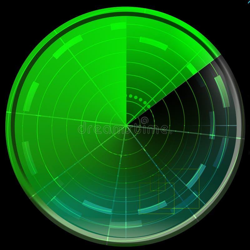 Zielony ekran radaru ilustracja wektor