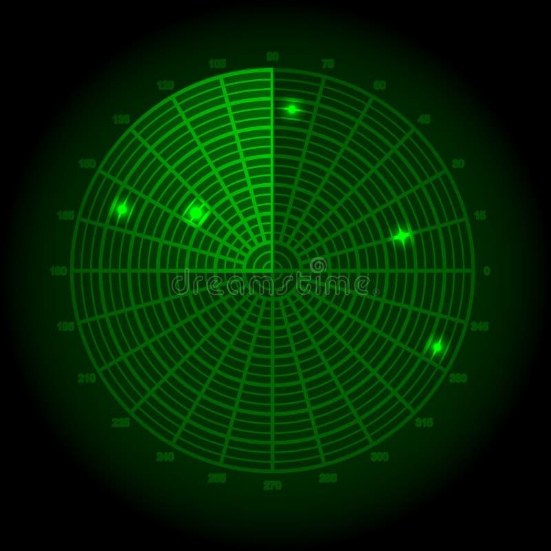 zielony ekran radaru również zwrócić corel ilustracji wektora royalty ilustracja