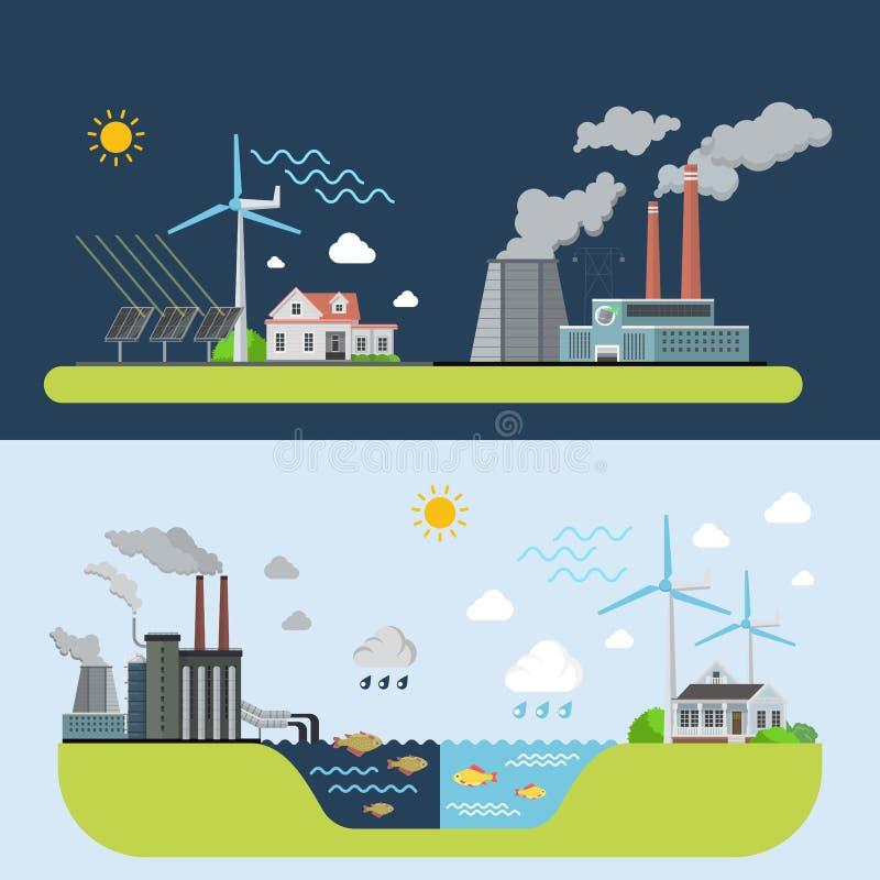 Zielony energetyczny czysty miasto porównujący zanieczyszczająca roślina royalty ilustracja